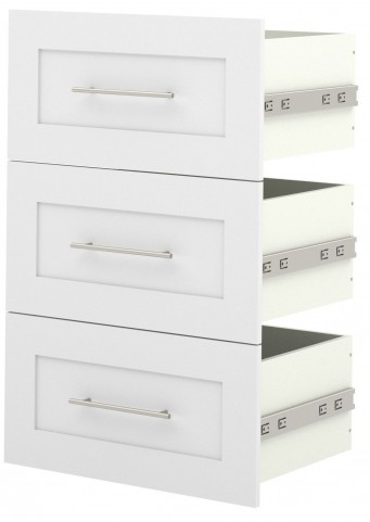 "Pure White 3 Drawer Set For 25"" Storage Unit"