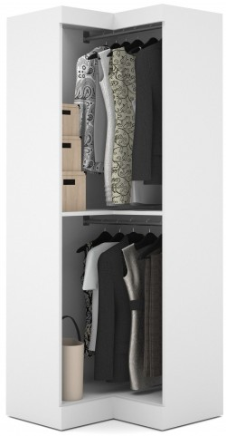 26165 Pure White Open Corner Wardrobe