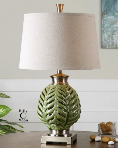 Flowing Fern Green Table Lamp