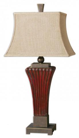 Rosso Ribbed Ceramic Lamp