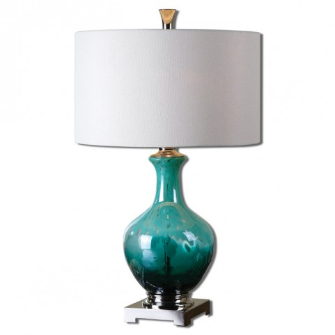 Yvonne Green Blue Glass Table Lamp