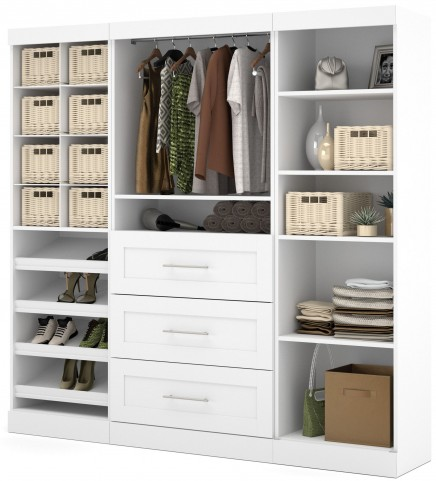 "Pure White 86"" Classic Open Storage Unit Cubby compartments With 3 Drawers"