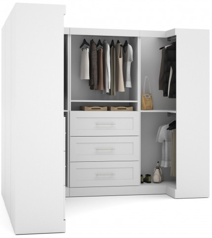 "Pure White 100"" Optimum L- Shaped Wardrobe"