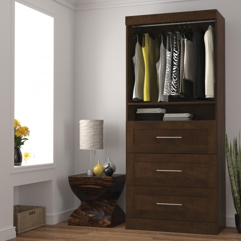 "Pur Chocolate 36"" 3 Drawer Storage Unit"
