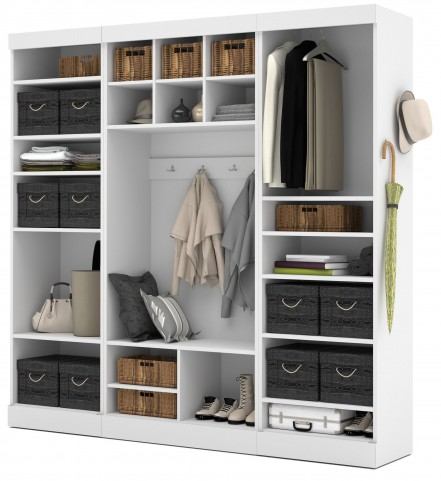 "Pure White 86"" Open Storage Mudroom Set"