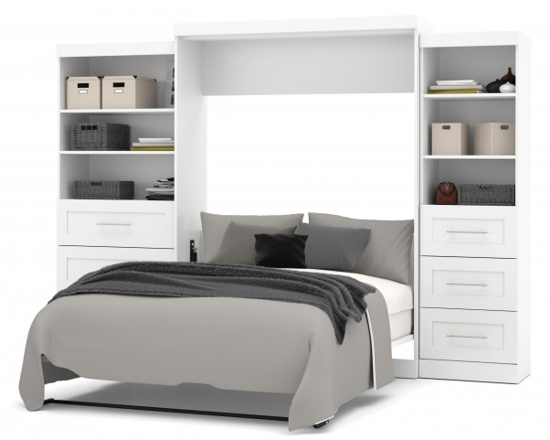 "Pur White 126"" Drawer Storage Queen Wall Bed"