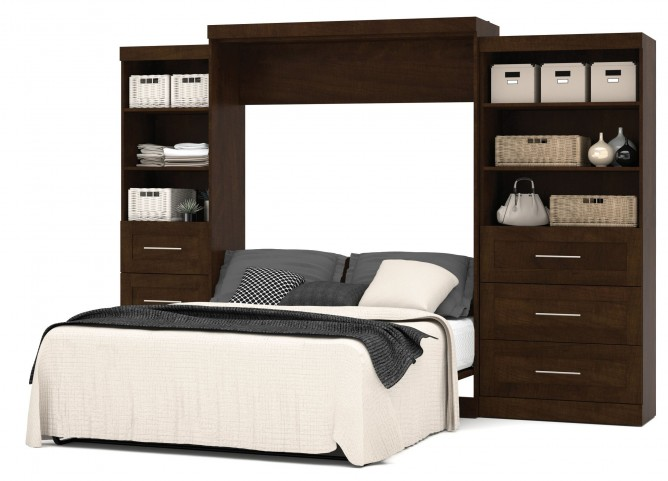 "Pur Chocolate 126"" Drawer Storage Queen Wall Bed"