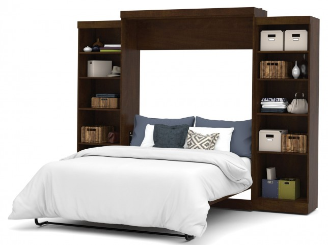 "Pur Chocolate 115"" Queen Wall Storage Bed"