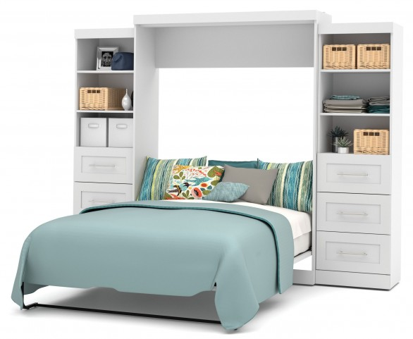"Pur White 115"" Queen Wall Drawer Storage Bed"
