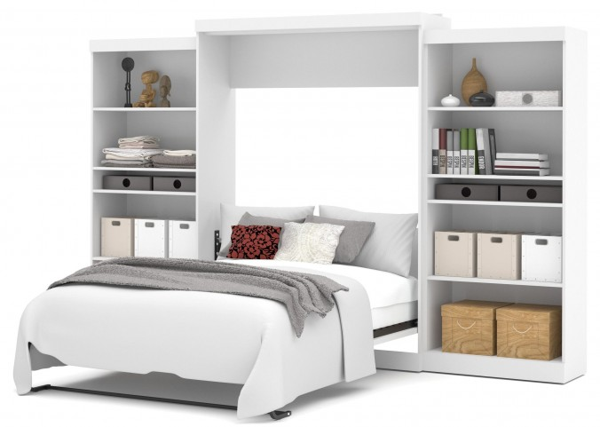 "Pur White 136"" Queen Wall Storage Bed"