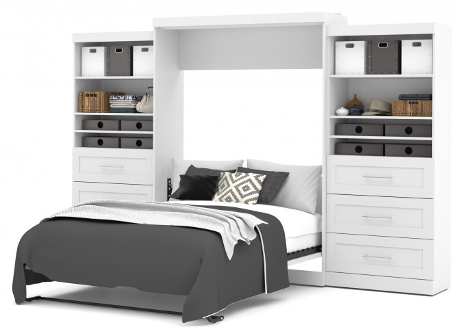 "Pur White 136"" Queen Wall Drawer Storage Bed"
