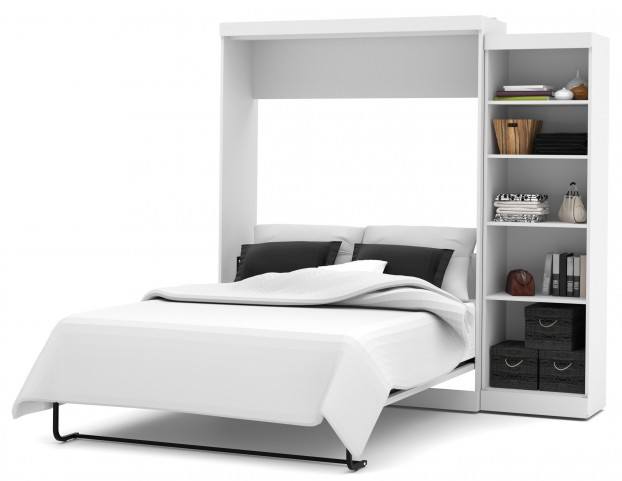"Pur White 90"" Queen Wall Storage Bed"