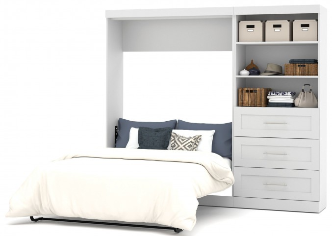 "26891 Pure White 95"" Drawer Full Wall Bed"
