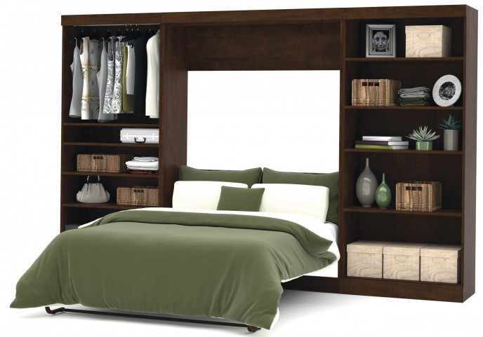 "Pur Chocolate 131"" Open Storage Full Wall Bed"