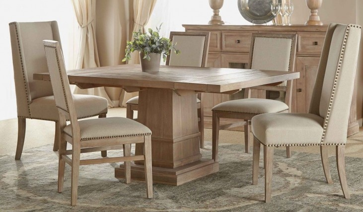 Hudson Stone Wash Square Extendable Pedestal Dining Room Set with Dexter Dining Chairs