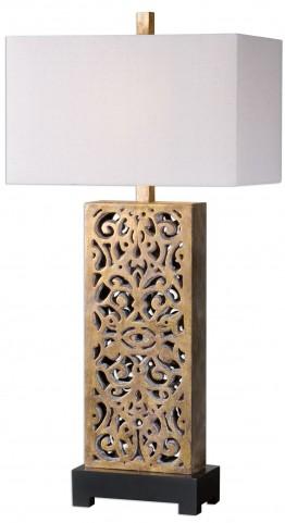 Vishera Antiqued Gold Table Lamp