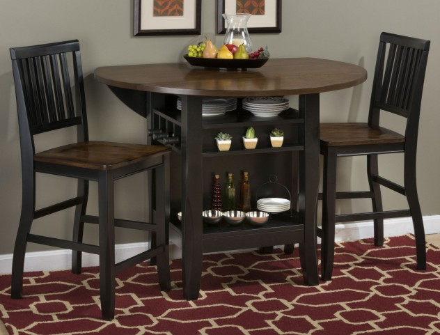 "Braden Antique Black 48"" Round Extendable Drop-Leaf Counter Height Dining Room Set"