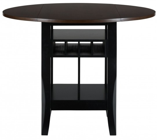 """Braden Antique Black 48"""" Round Extendable Drop-Leaf Counter Height Dining Table"""