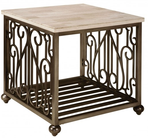 Toscana Antique Pewter Metal Square End Table