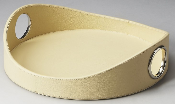2779287 Lido Hors D'Oeuvres Cream Leather Serving Tray