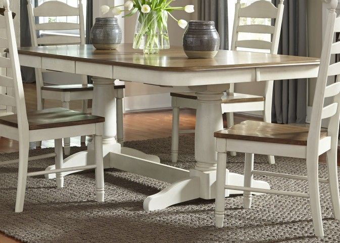 Springfield Honey and Cream Rectangular Extendable Double Pedestal Dining Room Set