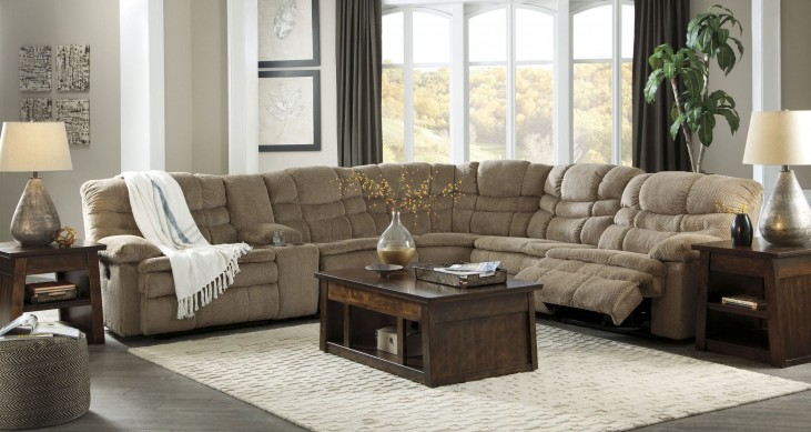 Zavion Beige Reclining Sectional