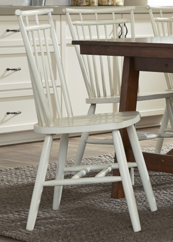 Creations II White Spindle Back Side Chair Set of 2