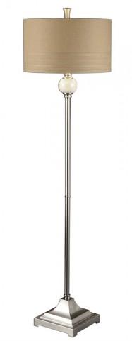 Crisfield Ivory Marble & Nickel Floor Lamp