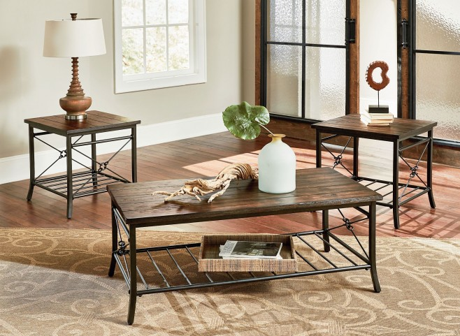 Ainsley Rustic Brown 3 Piece Occasional Table Set