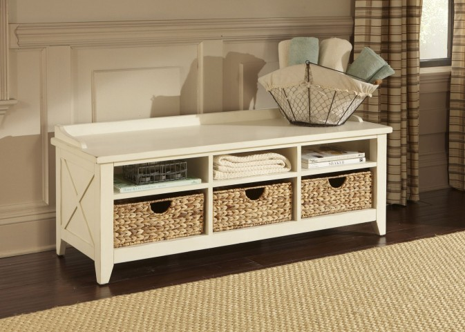 Hearthstone Rustic White Cubby Storage Bench
