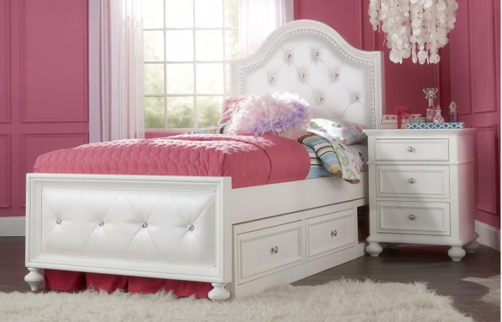 Madison Natural White Painted Youth Upholstered Panel Bedroom Set