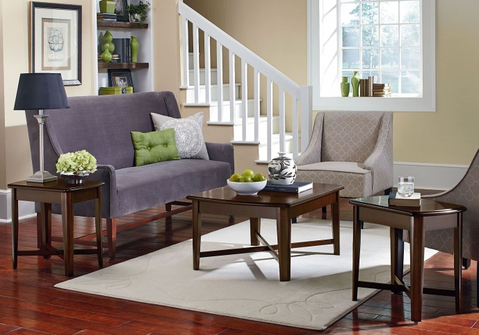 Townhouse Smooth Brown Cherry 3 Piece Occasional Table Set