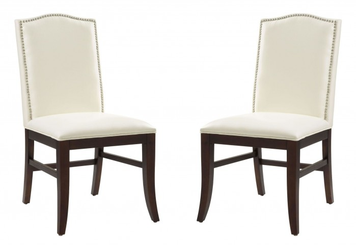 Maison Ivory Leather Dining Chair Set of 2