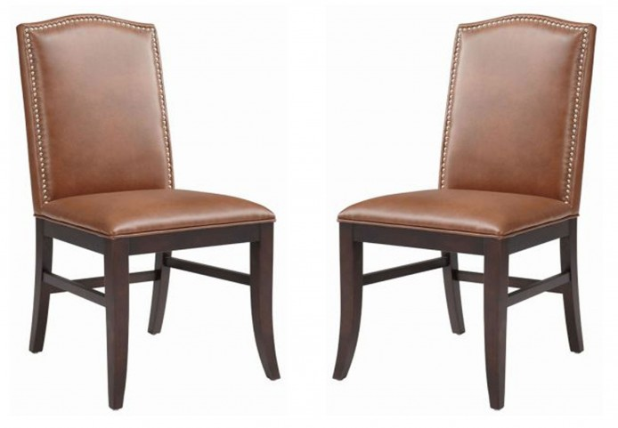 Maison Cognac Leather Dining Chair Set of 2