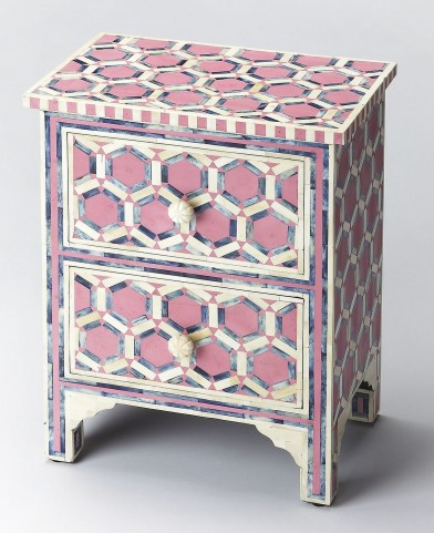 Bone Inlay Vivienne Pink Accent Chest