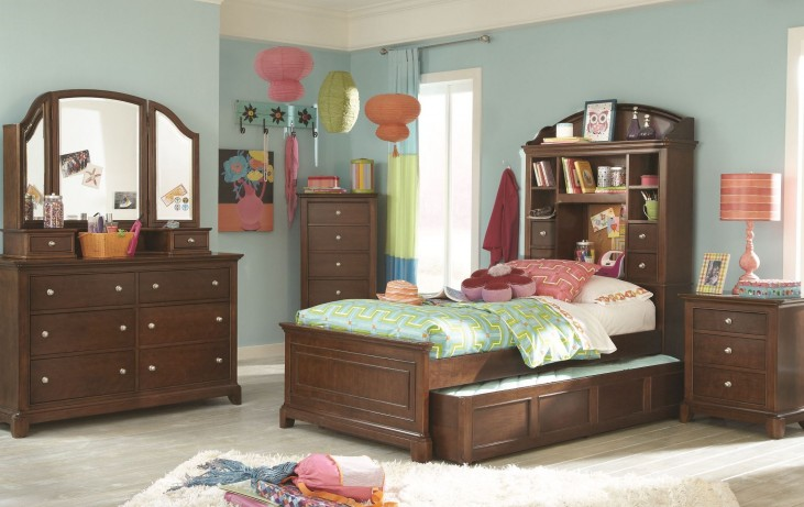 Impressions Classic Clear Cherry Youth Bookcase Bedroom Set