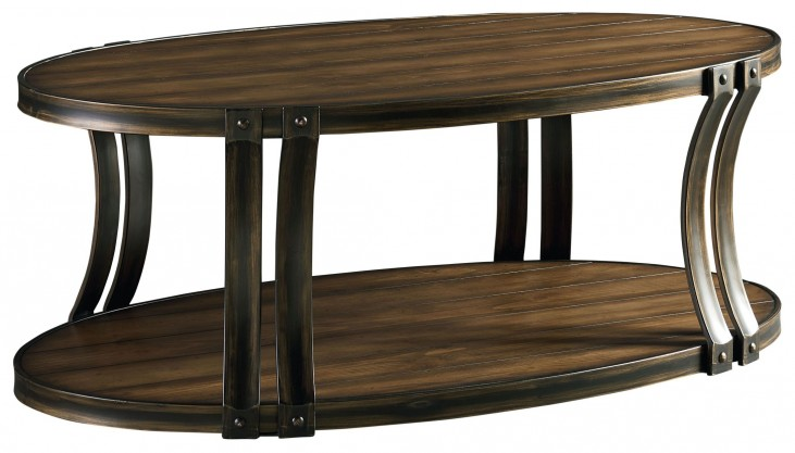 Huntington Smoky Caramel Pine Oval Cocktail Table