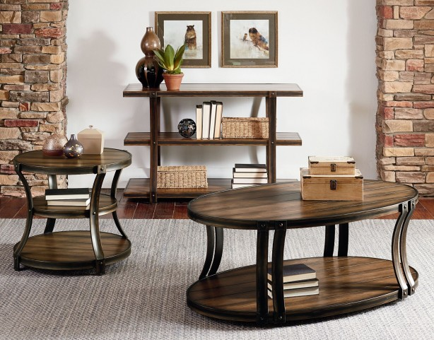 Huntington Smoky Caramel Pine Occasional Table Set