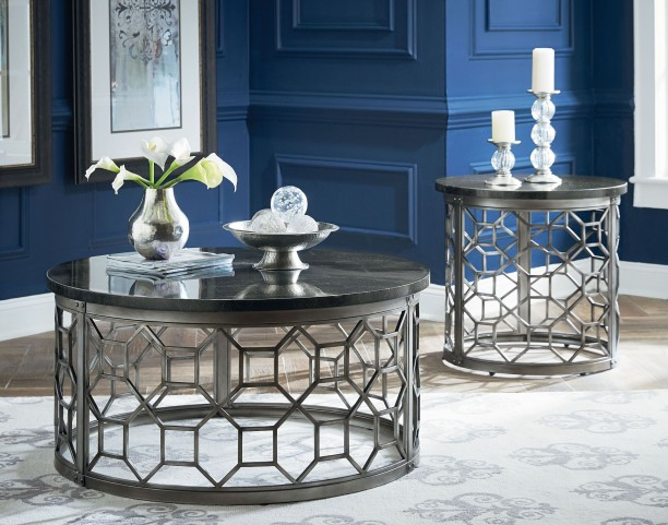 Equinox Round Stone Top Occasional Table Set