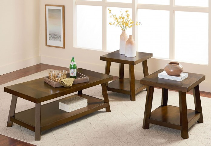 Omaha Dusty Brown Wood 3 Piece Occasional table set