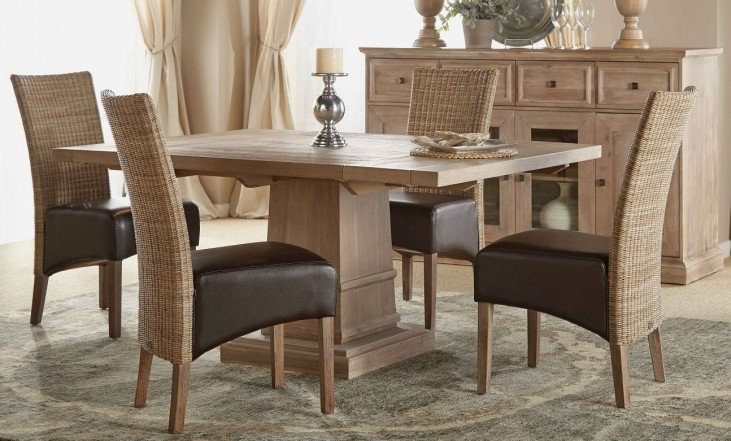 Hudson Stone Wash Square Extendable Pedestal Dining Room Set with Hampton Dining Chairs