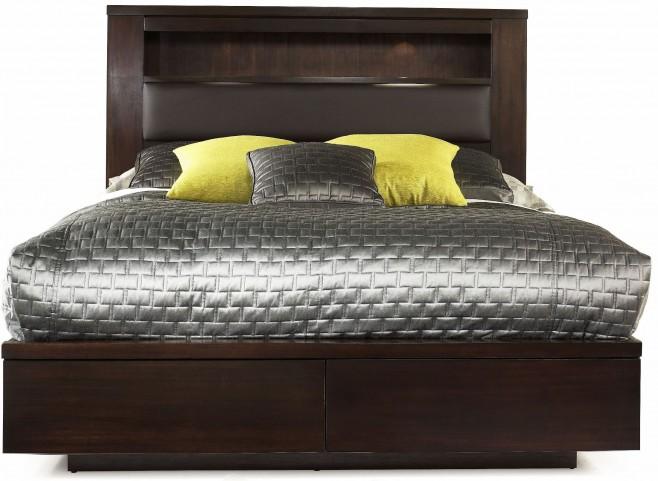 Manola Coffee Queen Bookcase Bed