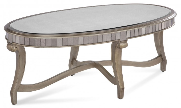 Celine Real Silver Leaf Oval Cocktail Table
