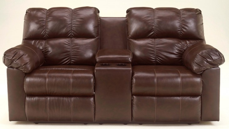 Kennard Chocolate Double Reclining Loveseat with Console