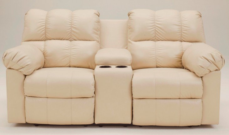 Kennard Cream Double Power Reclining Loveseat with Console