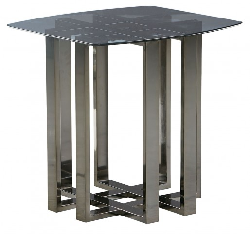 Hashtag Black Chrome Metal End Table