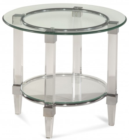 Cristal Acrylic and Chrome Round End Table
