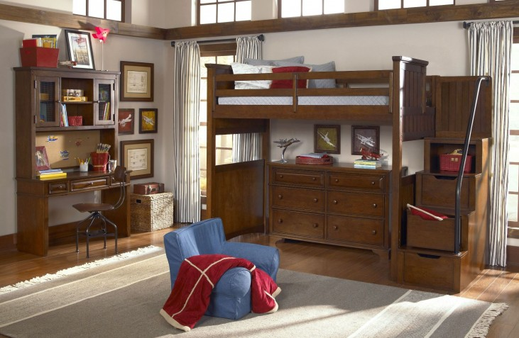 Dawsons Ridge Youth Size Open Loft Storage Steps Bedroom Set