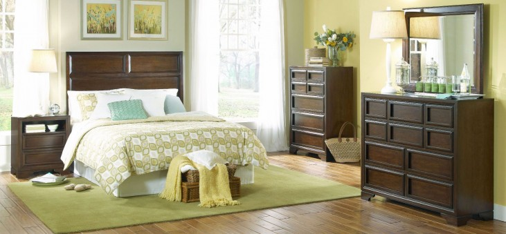 Benchmark Root Beer Panel Bedroom Set