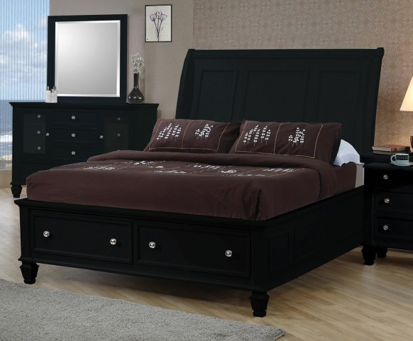 Sandy Beach Black Queen Sleigh Storage Bed